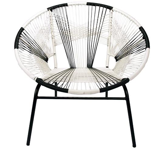 Fauteuil de jardin tulum fil noir et blanc 149 salon d 39 t for Jardin noir et blanc