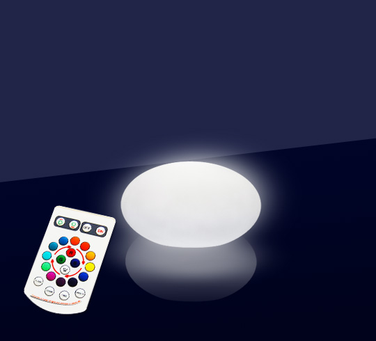 galet lumineux led ext rieur 20 cm sans fil 39 salon d 39 t. Black Bedroom Furniture Sets. Home Design Ideas