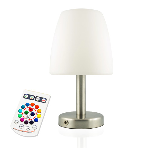 Lampe de table led h26cm sans fil rechargeable 52 salon for Lampe de chevet rechargeable