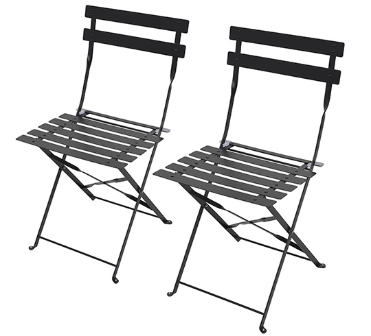 Lot 2 chaises de jardin pliantes noir mat 59 salon d 39 t for Lot chaise de jardin