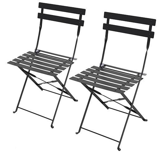 Lot 2 chaises de jardin pliantes noir mat 59 salon d 39 t for Lot chaise de jardin