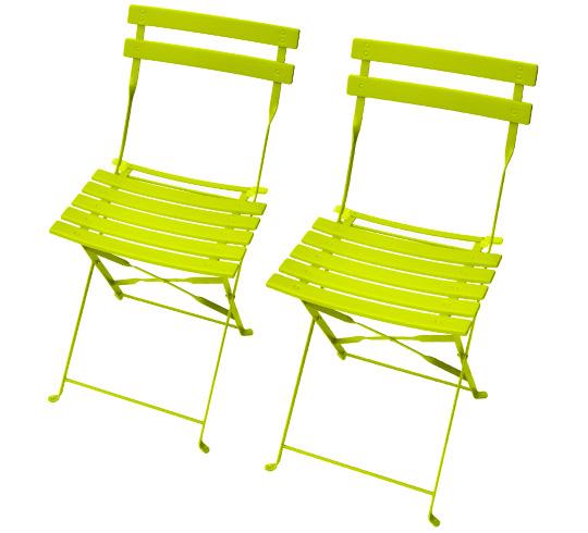 Lot 2 Chaises de Jardin Pliantes Vert Anis Brillant 59€ | Salon d\'été