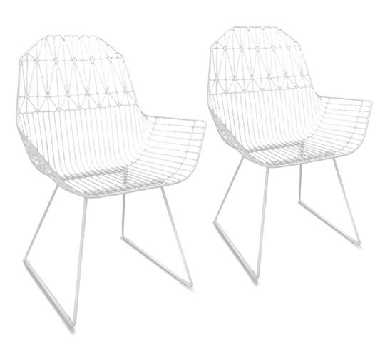 Lot 2 Chaises de Jardin Métal Filaire Blanc Géométrique 279€   Salon