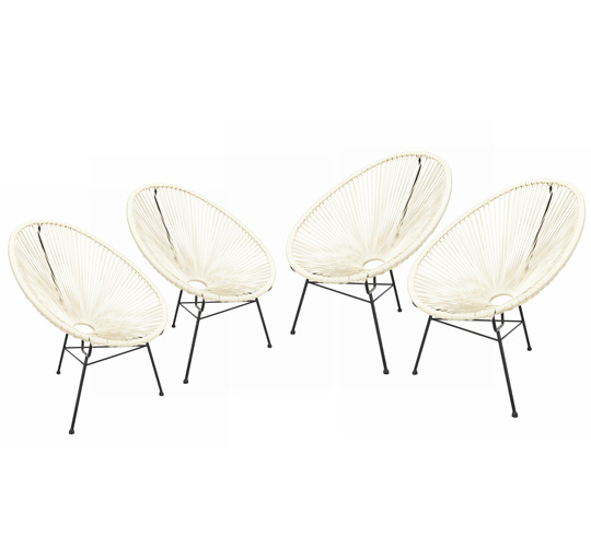 lot 4 fauteuils acapulco blanc 369 salon d 39 t. Black Bedroom Furniture Sets. Home Design Ideas
