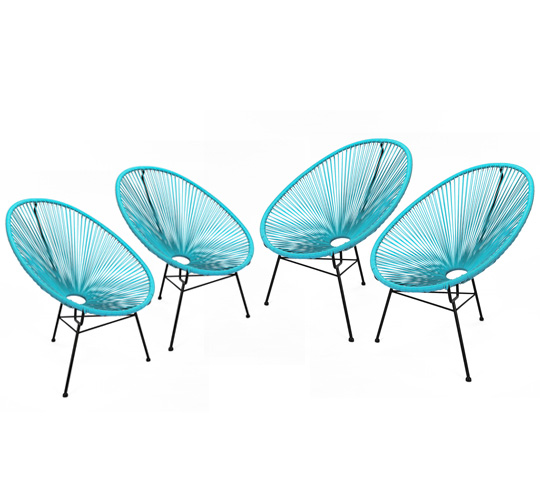 Lot 4 fauteuils acapulco bleu turquoise 299 salon d 39 t - Salon de jardin acapulco ...