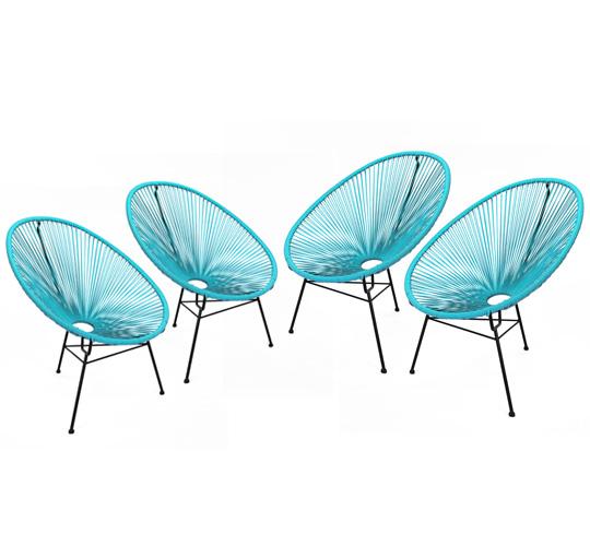 Lot 4 Fauteuils Acapulco Bleu Turquoise 299€ | Salon d\'été