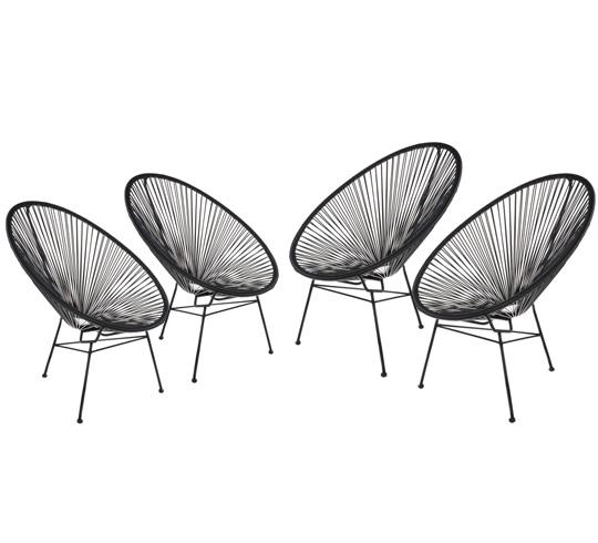 lot 4 fauteuils acapulco noir 449 salon d 39 t. Black Bedroom Furniture Sets. Home Design Ideas