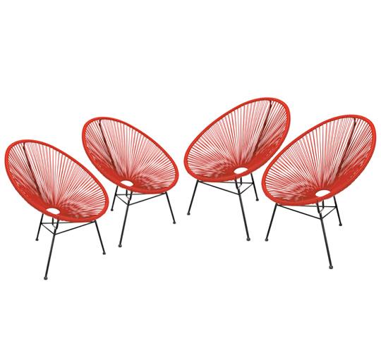 lot 4 fauteuils acapulco rouge 449 salon d 39 t. Black Bedroom Furniture Sets. Home Design Ideas