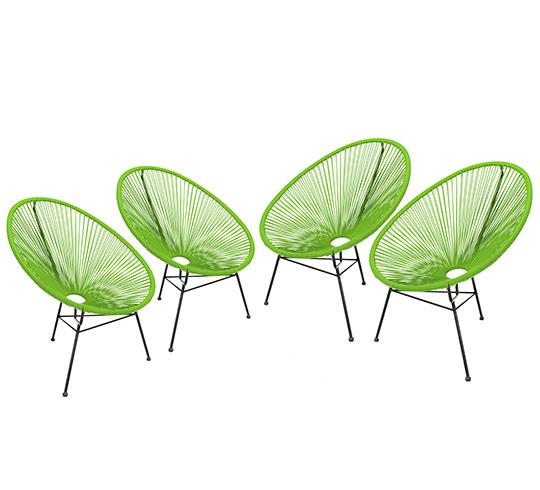 lot 4 fauteuils acapulco vert 369 salon d 39 t. Black Bedroom Furniture Sets. Home Design Ideas