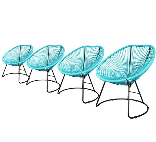 lot 4 fauteuils de jardin copacabana fil bleu turquoise 319 salon. Black Bedroom Furniture Sets. Home Design Ideas