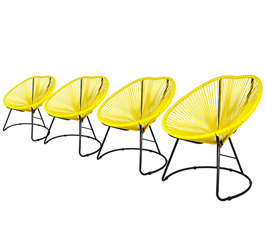 lot 4 fauteuils de jardin copacabana fil jaune 319. Black Bedroom Furniture Sets. Home Design Ideas