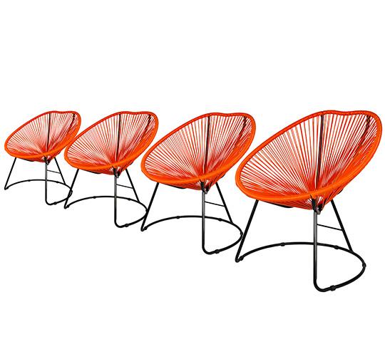 Lot 4 Fauteuils de Jardin Copacabana Fil Orange 319€ | Salon d\'été