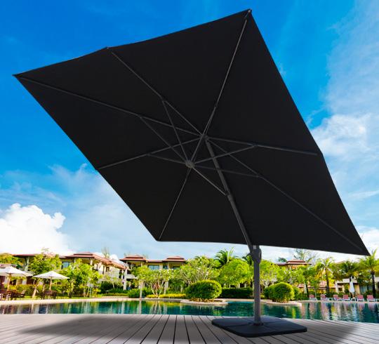 parasol d port 3 5m carr noir rotatif aluminium 289. Black Bedroom Furniture Sets. Home Design Ideas