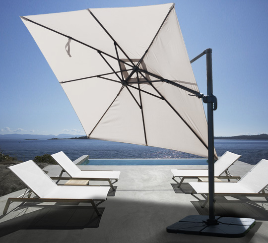 parasol d port carr beige 3x3 m rotatif aluminium 229 salon d 39 t. Black Bedroom Furniture Sets. Home Design Ideas