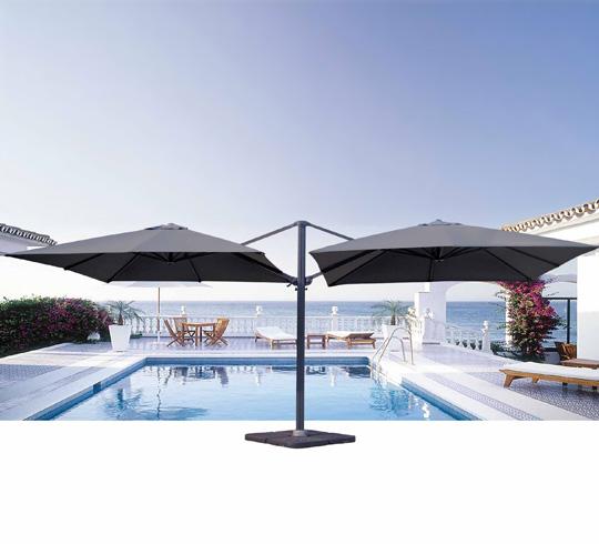 parasol double 3x3m noir rotatif 379 salon d 39 t. Black Bedroom Furniture Sets. Home Design Ideas