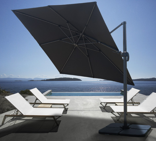 parasol d port carr noir de 3x3m rotatif 360. Black Bedroom Furniture Sets. Home Design Ideas