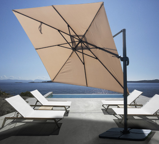 parasol d port carr taupe 3x3 m rotatif aluminium 229. Black Bedroom Furniture Sets. Home Design Ideas