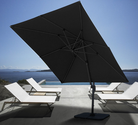 parasol d port rectangulaire noir 4x3 m haut de gamme rotatif alumin. Black Bedroom Furniture Sets. Home Design Ideas