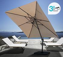 parasol d port rectangulaire taupe 4x3 m haut de gamme rotatif alumi. Black Bedroom Furniture Sets. Home Design Ideas