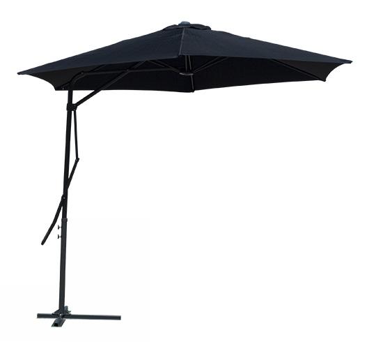 parasol d port rond noir 3m levier 69 salon d 39 t. Black Bedroom Furniture Sets. Home Design Ideas