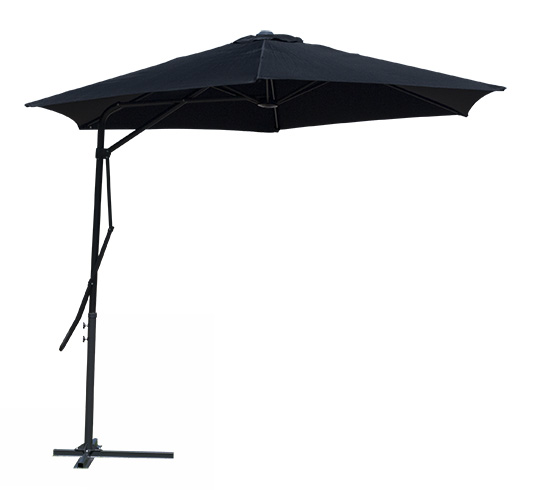 Parasol d port noir levier diam tre 3m 78 salon d 39 t - Soldes parasol deporte ...