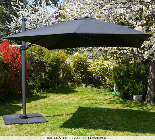parasol d port rotatif 360 carr 3x3 m noir. Black Bedroom Furniture Sets. Home Design Ideas