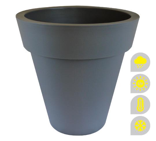pot de fleur rond gris 60 cm 45 salon d 39 t. Black Bedroom Furniture Sets. Home Design Ideas