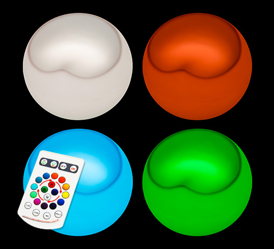 Lot De 4 Poufs Ball Chair Lumineux LED H45cm Sans Fil