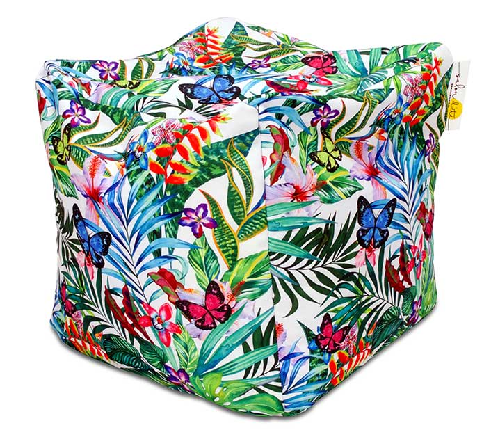 pouf d 39 ext rieur waterproof jungle imprim papillons 40cm 39 salon. Black Bedroom Furniture Sets. Home Design Ideas