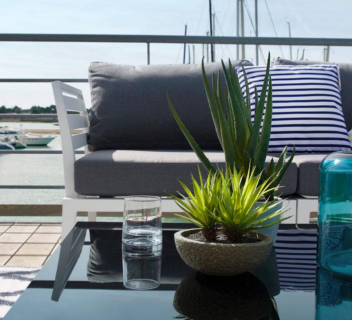 Salon de Jardin Aluminium 5 places Lounge Beau Rivage Blanc