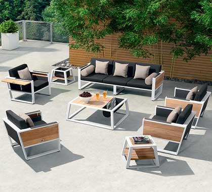 Salon de Jardin Haut de Gamme 7 places Lounge York Blanc ...