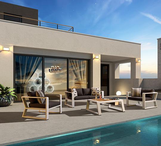 salon de jardin aluminium blanc et teck exee 4 places 1459. Black Bedroom Furniture Sets. Home Design Ideas