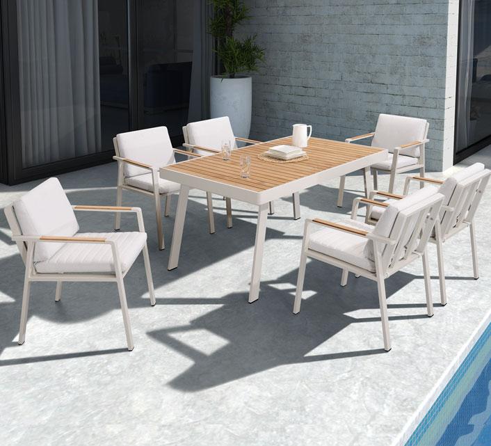 Salon de Jardin Aluminium et Bois Teck 6 personnes Table 160x90 Nofi ...