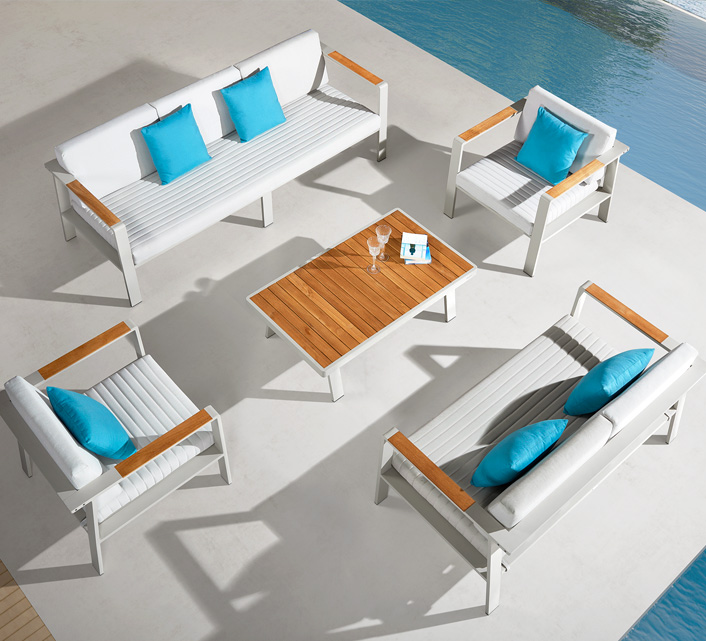 Salon de Jardin Aluminium 7 places Lounge Nofi Beige