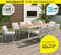 Salon de Jardin Beige Aluminium et Teck Nofi 8 personnes 1199€   Salo