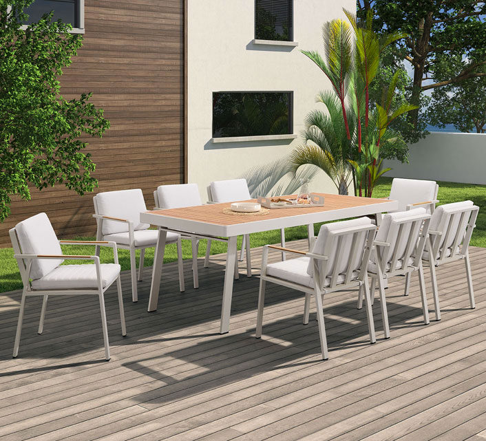 salon de jardin aluminium et bois teck 8 personnes table. Black Bedroom Furniture Sets. Home Design Ideas