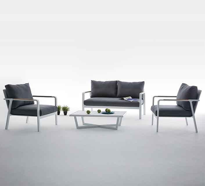 Fauteuil De Jardin Aluminium Blanc Et Teck Havana 209 Salon D Ete