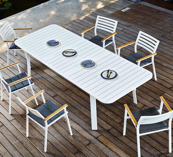 Salon de Jardin Aluminium 8 personnes Table Extensible 225-310cm Klara Blanc