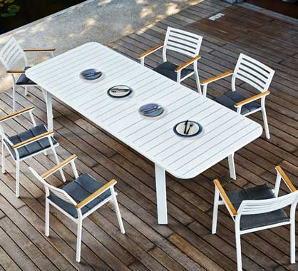 Salon de Jardin Aluminium 10 personnes Table Extensible 225 ...