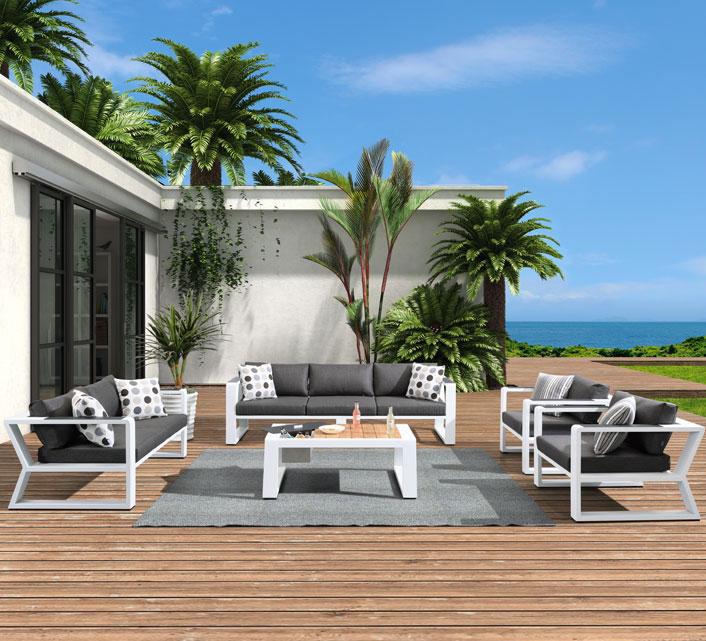 Salon de jardin aluminium 8 places lounge exee blanc 2699 - Salon de jardin aluminium 8 places ...