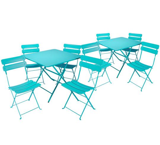 salon de jardin pliant bleu turquoise mat 8 places 325. Black Bedroom Furniture Sets. Home Design Ideas