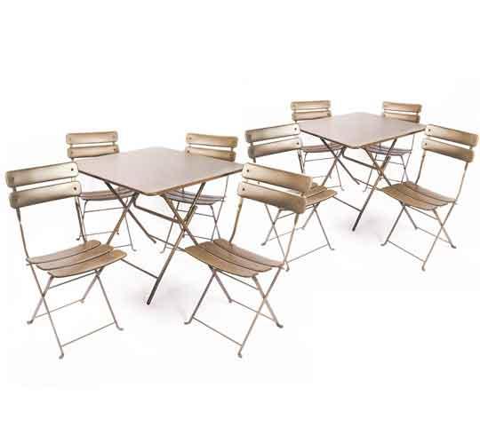 salon de jardin pliant taupe mat 8 places 285 salon d 39 t. Black Bedroom Furniture Sets. Home Design Ideas