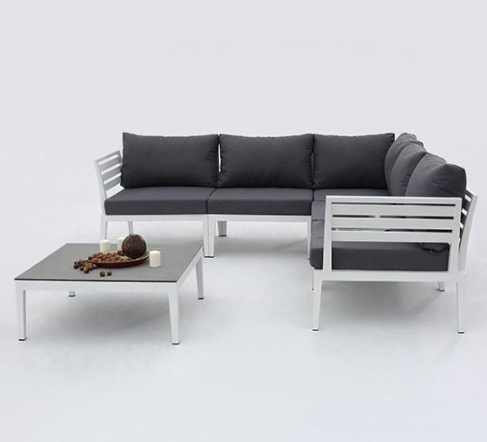 Salon de jardin d 39 angle aluminium blanc acapulca 1250 - Salon de jardin bleu ...