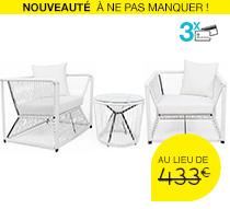 Salon de Jardin Fil Blanc Rio 2 places 379€ | Salon d\'été