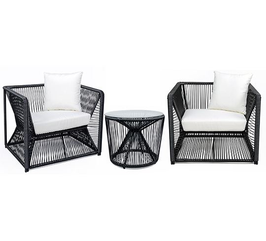 salon de jardin fil noir et blanc rio 2 places 379. Black Bedroom Furniture Sets. Home Design Ideas