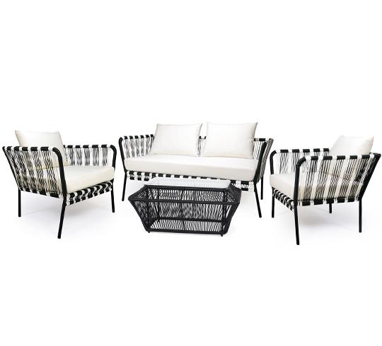 Salon de jardin fil noir et blanc mexico 4 places 599 for Jardin noir et blanc