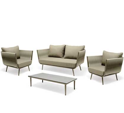 Salon de Jardin Aluminium 4 places Lounge Milano Taupe 1559€ | Salon ...
