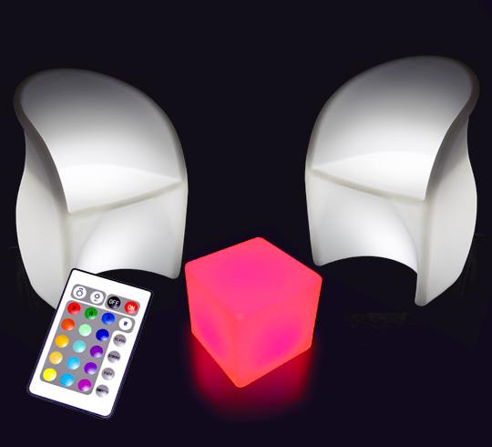 salon de jardin lumineux led sans fil 2 places 299. Black Bedroom Furniture Sets. Home Design Ideas