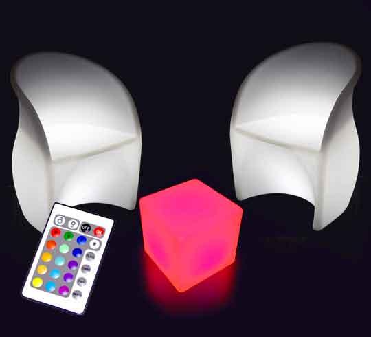 Salon de Jardin Lumineux LED Sans Fil 2 places