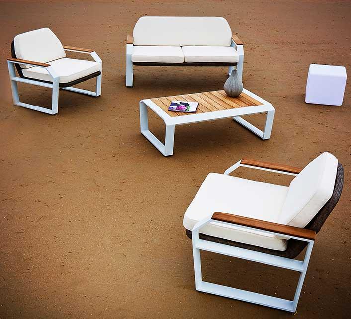 Salon de jardin aluminium blanc et teck miami 4 places - Salon de jardin en resine et alu floris blanc ...